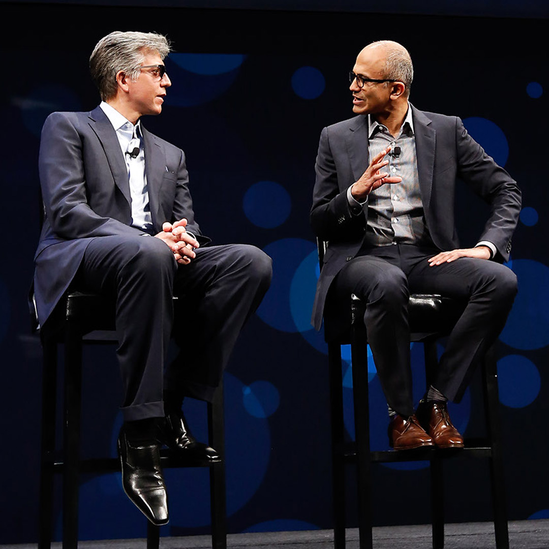 SAP CEO Bill McDermott (left) and Microsoft CEO Satya Nadella (right) on stage at SAPPHIRE NOW in 2016